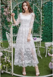 3389-5653 EMBROIDERY LACE DRESS
