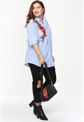48-6602 EMBROIDERY STRIPE BLOUSE