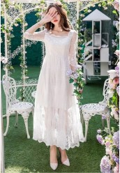 5223-8663 EMBROIDERY LONG DRESS