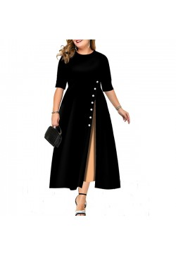 554-11 SLIM BUTTON LONG DRESS