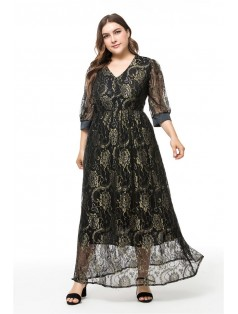 6-8110 LONG LACE DRESS