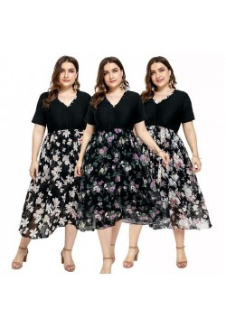 9612-1 V NECK FLORAL DRESS