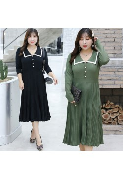 633-11 PLEATED KNIT DRESS