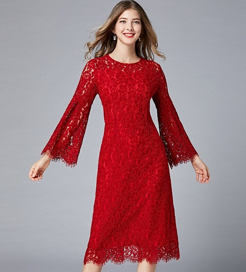 1-4388 TRUMPET SLEEVE LACE DRESS