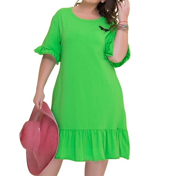 1-6750 RUFFLED STITCHED DRESS