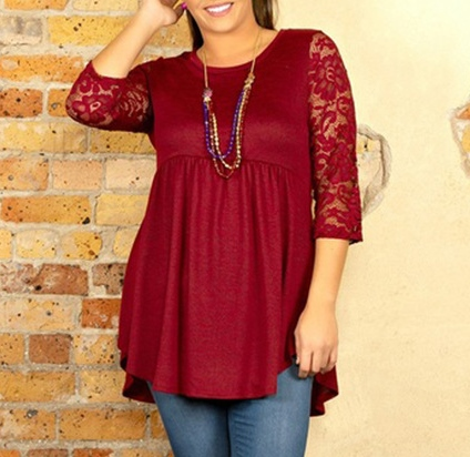 1-8022 LACE SLEEVE TOP