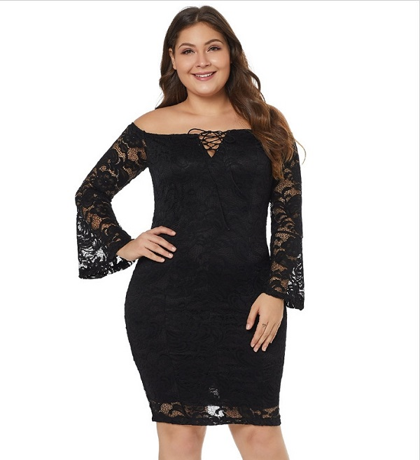 108-722 OFF SHOULDER LACE DRESS