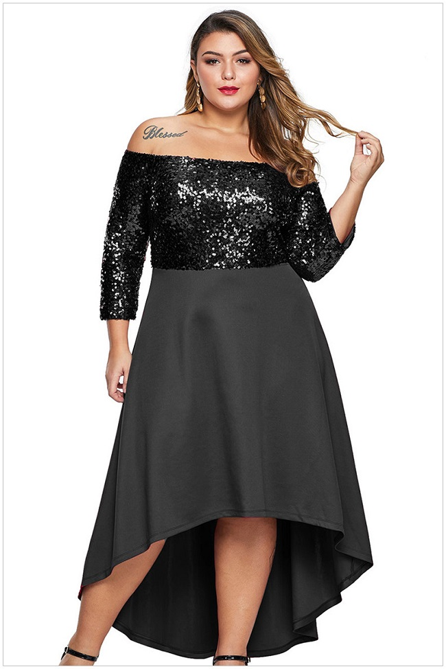 170-10 SEQUINS DOVETAIL DRESS