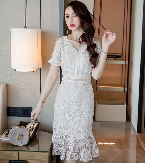 450-519 HOLLOW LACE DRESS