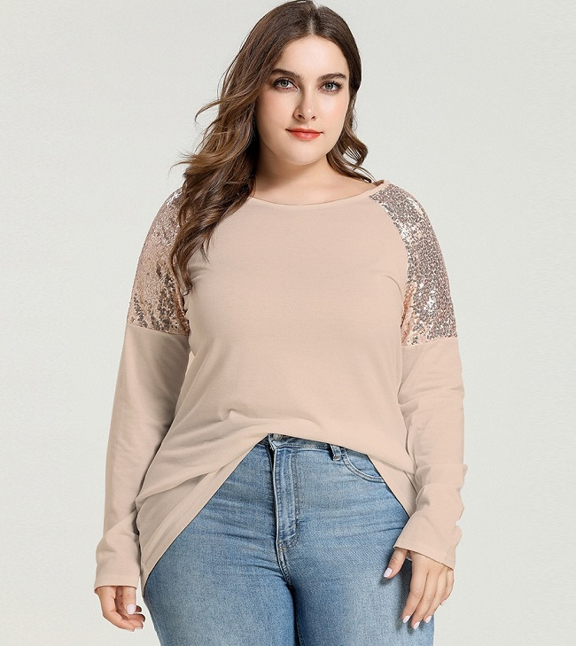 499-12 SEQUINS SLEEVE TOP