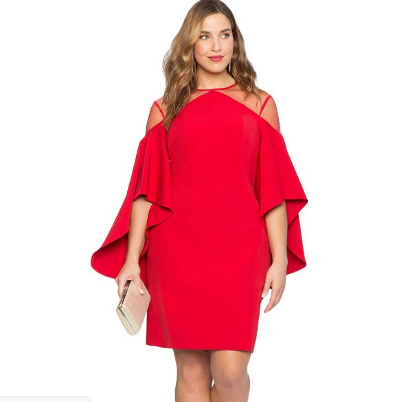 713-532 TRUMPET SLEEVE DRESS