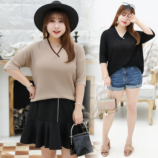 3-6852 V NECK KNIT TOP